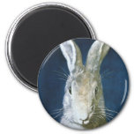 Vintage Easter Bunny, Cute Furry White Rabbit 2 Inch Round Magnet