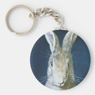 Vintage Easter Bunny, Cute Furry White Rabbit Basic Round Button Keychain