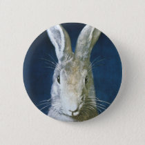 Vintage Easter Bunny, Cute Furry White Rabbit Button