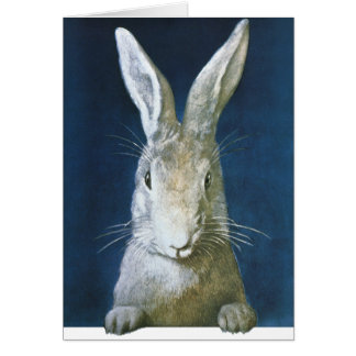 Vintage Easter Bunny, Cute Furry White Rabbit Stationery Note Card