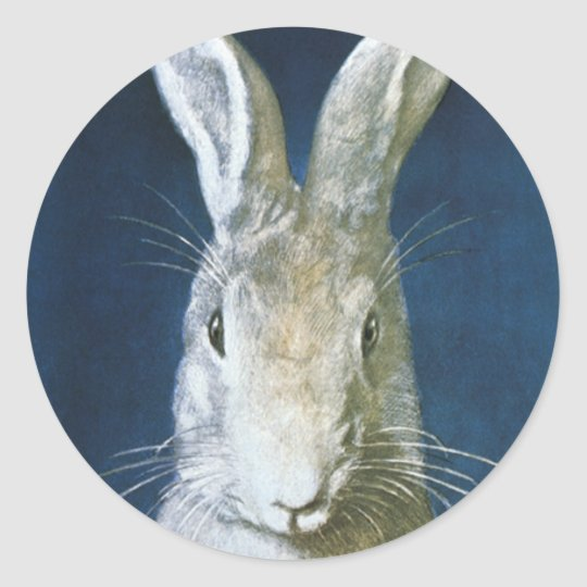Vintage Easter Bunny, Cute Furry White Rabbit Classic Round Sticker