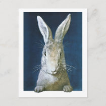 Vintage Easter Bunny, Cute Furry White Rabbit Holiday Card