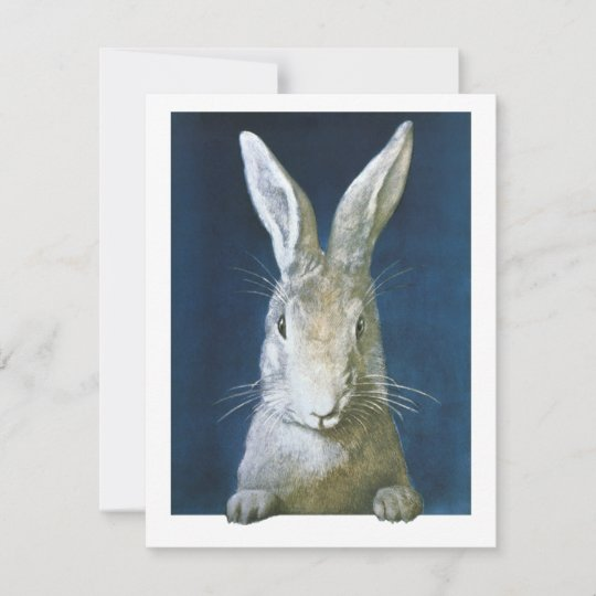 dad07ed39 Vintage Easter Bunny, Cute Furry White Rabbit Holiday Card. . Design is  previewed with ...