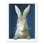 Vintage Easter Bunny, Cute Furry White Rabbit 4.25x5.5 Paper Invitation Card
