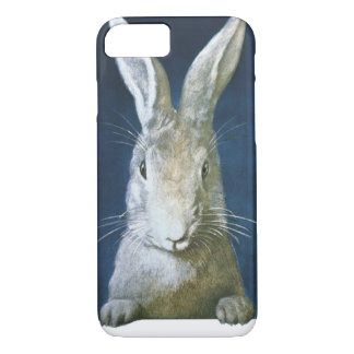 Vintage Easter Bunny, Cute Furry White Rabbit iPhone 7 Case