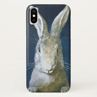 Vintage Easter Bunny, Cute Furry White Rabbit iPhone X Case