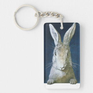 Vintage Easter Bunny, Cute Furry White Rabbit Keychain