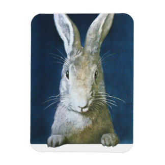 Vintage Easter Bunny, Cute Furry White Rabbit Magnet