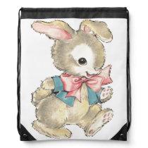 Vintage Easter Bunny Drawstring Bag