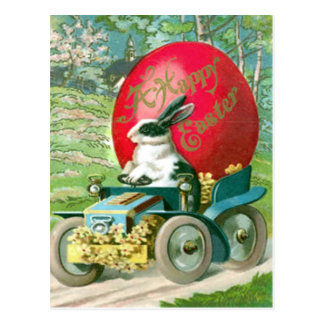Vintage Easter Bunny Driving Car Easter Egg Card