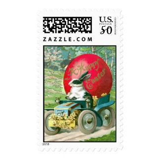 Vintage Easter Bunny Driving Car Easter Egg Card Postage