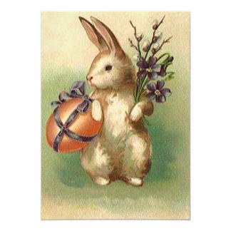 Vintage Easter Bunny Easter Egg Flowers Card