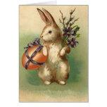 Vintage Easter Bunny Easter Egg Flowers Easter Car Greeting Card