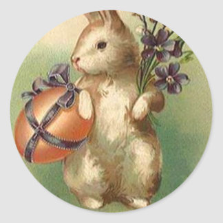 Vintage Easter Bunny Easter Egg Flowers Easter Car Classic Round Sticker