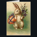 """Vintage Easter Bunny Easter Egg Flowers Easter Card<br><div class=""""desc"""">Vintage Easter print</div>"""