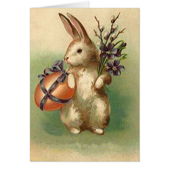 Vintage Easter Bunny Easter Egg Flowers Easter Card