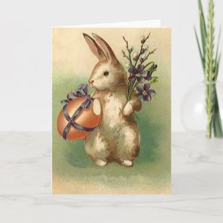 Vintage Easter Bunny Easter Egg Flowers Easter Holiday Card