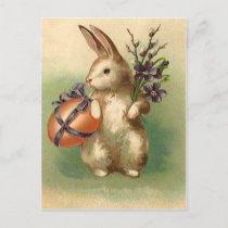 Vintage Easter Bunny Easter Egg Flowers Easter Holiday Postcard