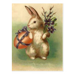 Vintage Easter Bunny Easter Egg Flowers Easter Postcard