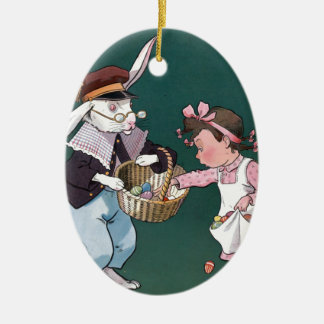 Vintage Easter Bunny Easter Eggs Art Double-Sided Oval Ceramic Christmas Ornament