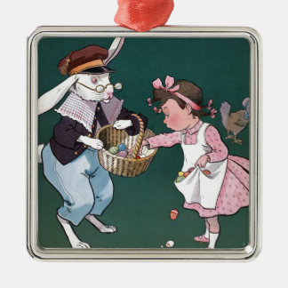 Vintage Easter Bunny Easter Eggs Art Square Metal Christmas Ornament