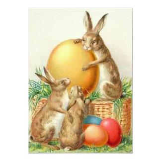 Vintage Easter Bunny Easter Eggs Card