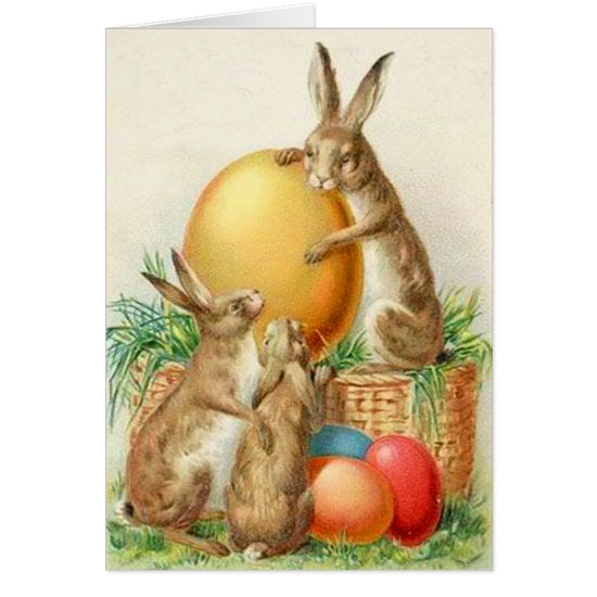 Vintage Easter Bunny Easter Eggs Easter Card