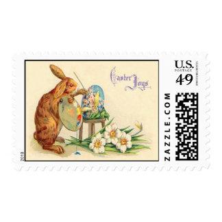 Vintage Easter Bunny Easter Eggs Easter Card Postage