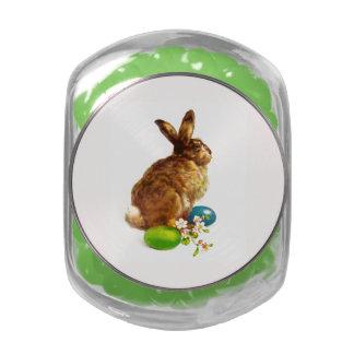 Vintage Easter Bunny. Easter Gift Candy Glass Jar