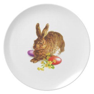 Vintage Easter Bunny. Easter Gift Melamine Plates