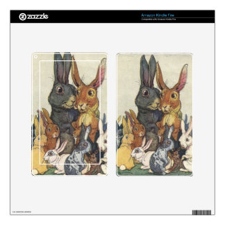 Vintage Easter bunny family Decals For Kindle Fire