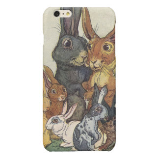 Vintage Easter bunny family Glossy iPhone 6 Plus Case