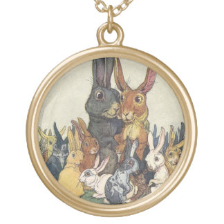 Vintage Easter bunny family Gold Plated Necklace