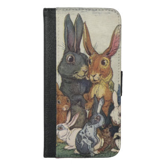 Vintage Easter bunny family iPhone 6/6s Plus Wallet Case