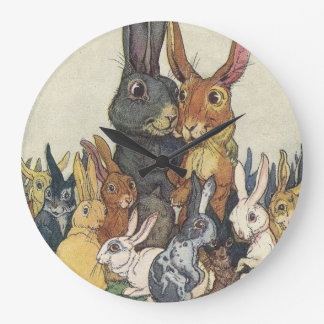 Vintage Easter bunny family Large Clock