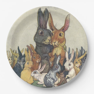 Vintage Easter bunny family Paper Plate