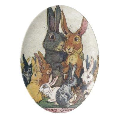 Vintage Easter bunny family Porcelain Serving Platter
