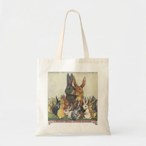 Vintage Easter Bunny Family Portrait Tote