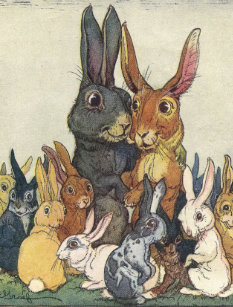 Easter family gifts on zazzle vintage easter bunny family postcard negle Gallery
