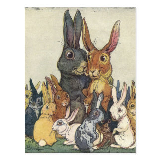 Vintage Easter bunny family Postcard