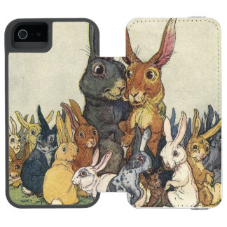 Vintage Easter bunny family Wallet Case For iPhone SE/5/5s