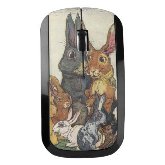Vintage Easter bunny family Wireless Mouse