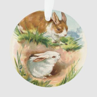 Vintage Easter Bunny Greeting Ornament