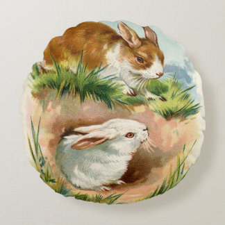 Vintage Easter Bunny Greeting Round Pillow