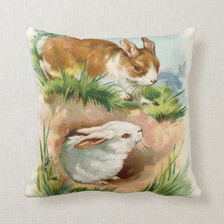 Vintage Easter Bunny Greeting Throw Pillow