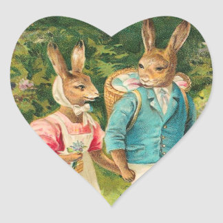 Vintage Easter Bunny Heart Stickers