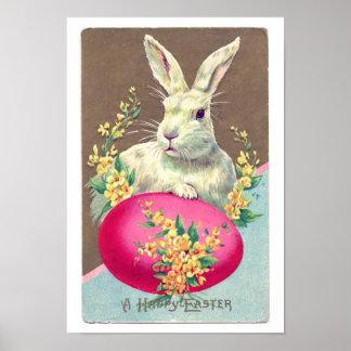 Vintage Easter Bunny Illustration Poster