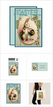 Vintage Easter Bunny Invitation Set and Gifts