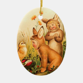 Vintage Easter Bunny Kids Double-Sided Oval Ceramic Christmas Ornament