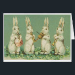 """Vintage Easter Bunny Orchestra Greeting Card<br><div class=""""desc"""">Retro / Vintage Easter greeting card.  Adorable bunnies performing in orchestra!</div>"""